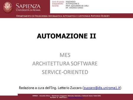 MES ARCHITETTURA SOFTWARE SERVICE-ORIENTED