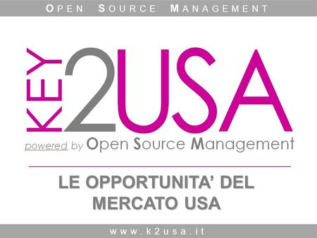 LE OPPORTUNITA' DEL MERCATO USA www.k2usa.it O PEN S OURCE M ANAGEMENT.