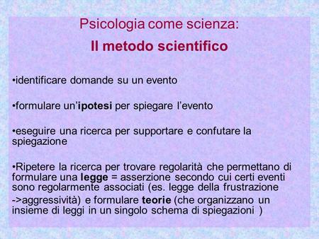 Psicologia come scienza: