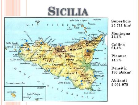 Sicilia Superficie km² Montagna 24,4% Collina 61,4% Pianura