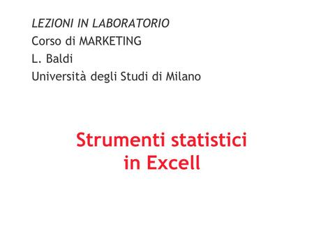 Strumenti statistici in Excell
