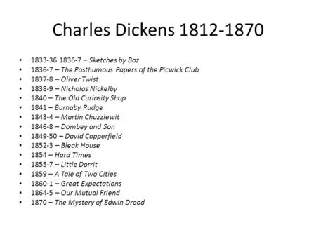 Charles Dickens 1812-1870 1833-36 1836-7 – Sketches by Boz 1836-7 – The Posthumous Papers of the Picwick Club 1837-8 – Oliver Twist 1838-9 – Nicholas Nickelby.