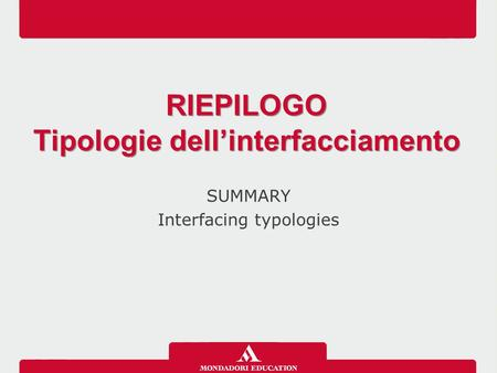 SUMMARY Interfacing typologies RIEPILOGO Tipologie dell'interfacciamento RIEPILOGO Tipologie dell'interfacciamento.