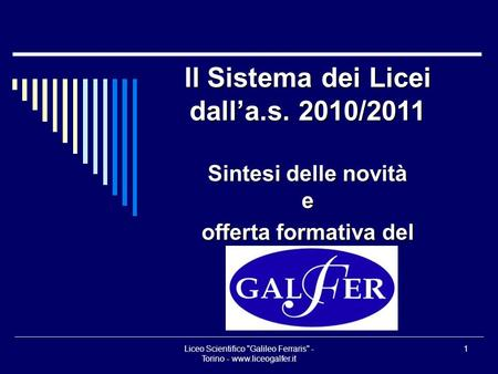 Liceo Scientifico Galileo Ferraris - Torino -