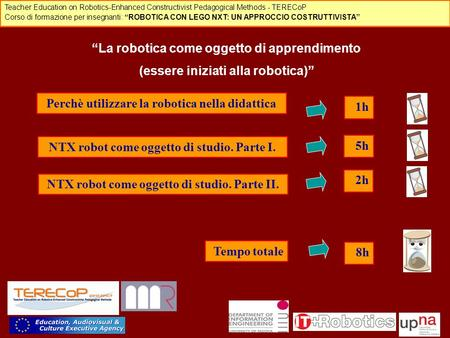 "Teacher Education on Robotics-Enhanced Constructivist Pedagogical Methods - TERECoP Corso di formazione per insegnanti: ""ROBOTICA CON LEGO NXT: UN APPROCCIO."