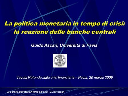 Guido Ascari, Università di Pavia