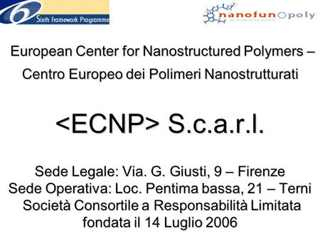 European Center for Nanostructured Polymers – Centro Europeo dei Polimeri Nanostrutturati S.c.a.r.l. Sede Legale: Via. G. Giusti, 9 – Firenze Sede Operativa: