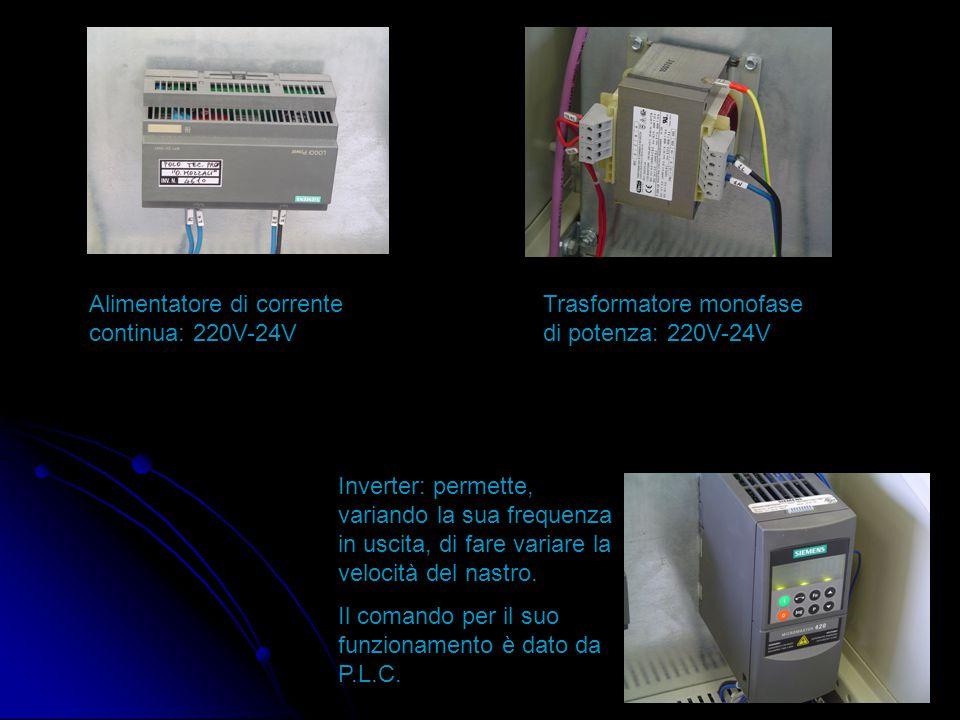 Alimentatore di corrente continua: 220V-24V Trasformatore monofase di potenza: 220V-24V Inverter: permette, variando la sua frequenza in uscita, di fare variare la velocità del nastro.