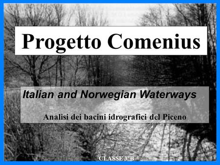 Progetto Comenius Italian and Norwegian Waterways Analisi dei bacini idrografici del Piceno CLASSE 3°B.