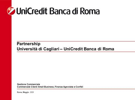 Partnership Università di Cagliari – UniCredit Banca di Roma