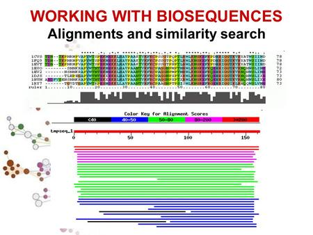 WORKING WITH BIOSEQUENCES Alignments and similarity search.