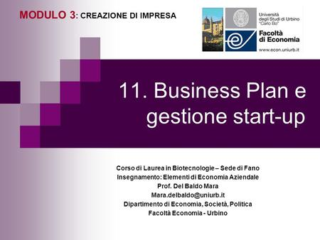 11. Business Plan e gestione start-up