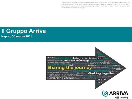 1 Il Gruppo Arriva Napoli, 30 marzo 2015 The information contained in this document belongs to Arriva Italia S.r.l. and to the recipient of the document.