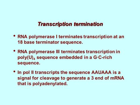 Transcription termination RNA polymerase I terminates transcription at an 18 base terminator sequence. RNA polymerase III terminates transcription in poly(U)