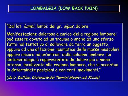 LOMBALGIA (LOW BACK PAIN)