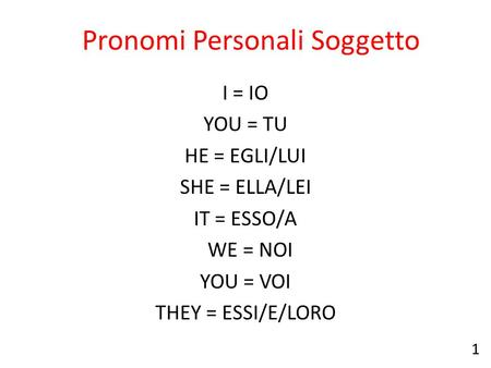 Pronomi Personali Soggetto I = IO YOU = TU HE = EGLI/LUI SHE = ELLA/LEI IT = ESSO/A WE = NOI YOU = VOI THEY = ESSI/E/LORO 1.