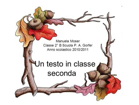 Un testo in classe seconda