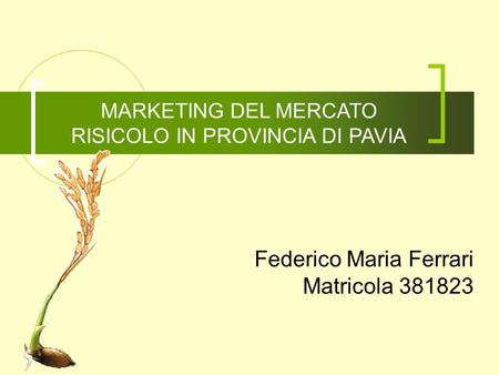 MARKETING DEL MERCATO RISICOLO IN PROVINCIA DI PAVIA Federico Maria Ferrari Matricola 381823.