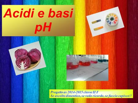 Acidi e basi pH Progetto as classe II F