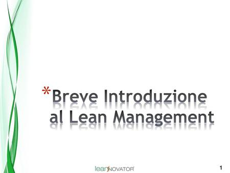 Breve Introduzione al Lean Management
