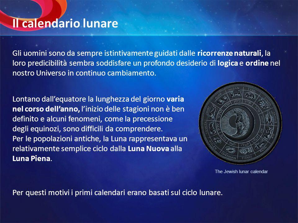 Sfortunatamente, il periodo orbitale della Terra attorno al Sole, ovvero la lunghezza dellanno astronomico (365.24 giorni ), non è un multiplo dellanno lunare ( 354.37 giorni ), corrisponde a 12 mesi lunari di 29.53 giorni.
