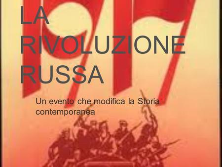 Un evento che modifica la Storia contemporanea