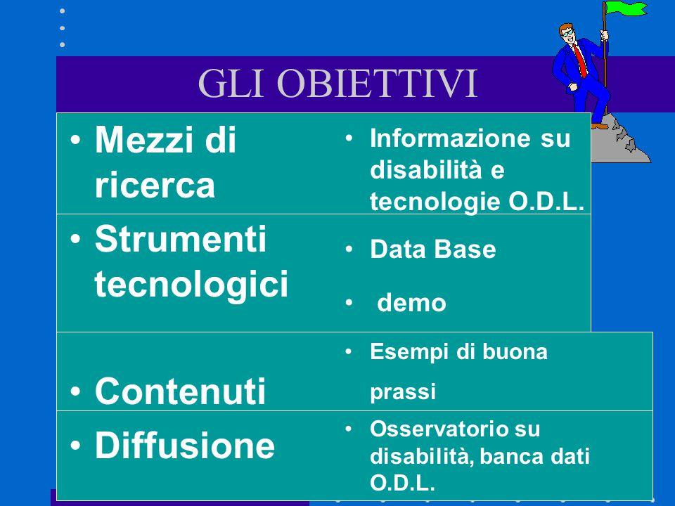 7 GLI OBIETTIVI Mezzi di ricerca Strumenti tecnologici Contenuti Diffusione Informazione su disabilità e tecnologie O.D.L.