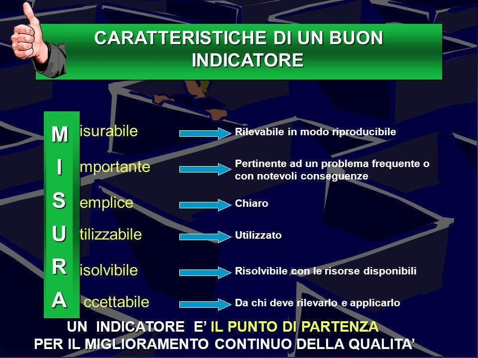 Caratteristiche o attributi degli indicatori 111Guido Marzuoli