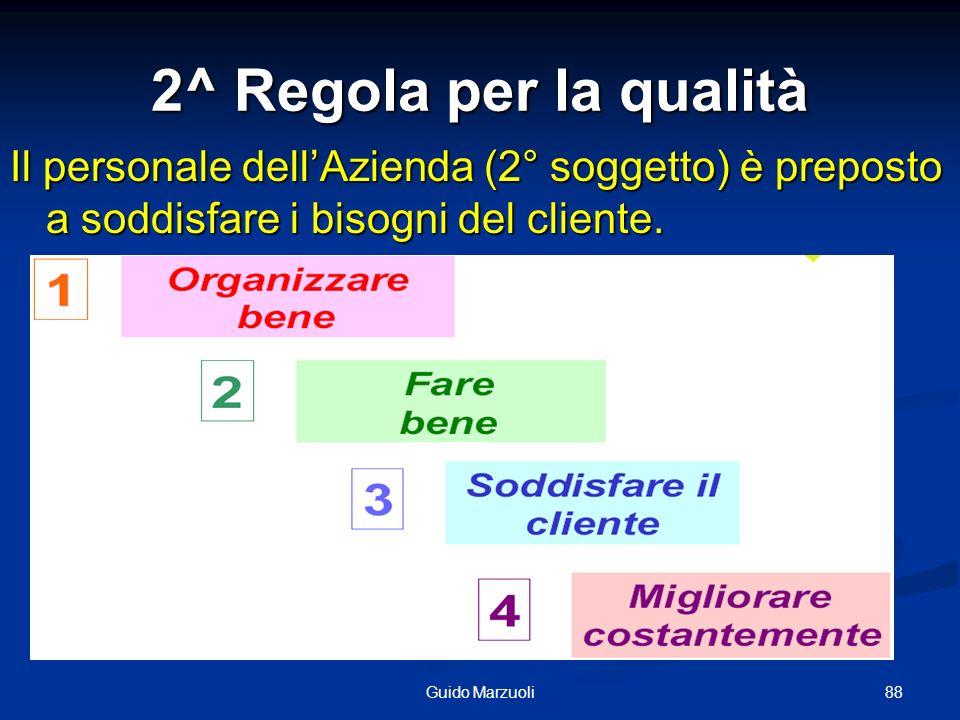 89Guido Marzuoli 3^ Regola per la qualità Qualsiasi sistema organizzativo deve predefinire bene, in anticipo, i requisiti minimi di garanzia attesi detti anche standard o fattori di qualità.