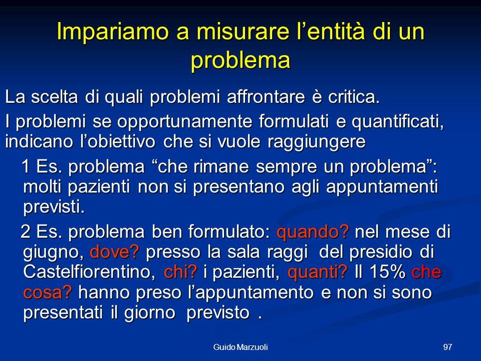 98Guido Marzuoli 3 Valutazione degli aspetti significativi del problema e scelta della priorità Il problema è quasi sempre valutabile come valore relativo di tanti aspetti/conseguenze del problema più o meno significativi.