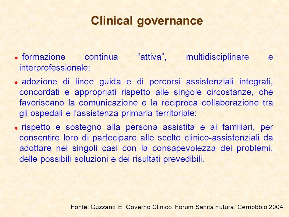Lessenza della Clinical Governance Realizzare la prospettiva unificante degli aspetti clinici e di quelli economico-gestionali delle prestazioni sanitarie finalizzata ad una gestione attiva degli elementi che determinano la qualità del servizio erogato Rendersi conto per rendere conto