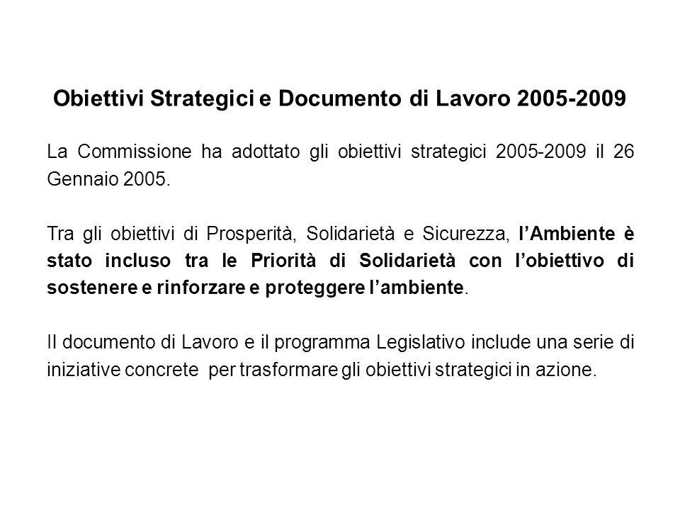 Le 10 iniziative ambientali della DG Ambiente adottate nel corso del 2005-2006: 1.Strategia tematica sullinquinamento atmosferico 2.Strategia tematia sulla prevenzione e riciclo dei rifiuti 3.Strategia tematica sulla conservazione e protezione dellambiente marino 4.Strategia tematica sulluso sostenibile dei pesticidi 5.Strategia tematica sulluso sostenibile e gestione delle risorse 6.Strategia tematica sullambiente urbano Ed inoltre: Comunicazione della Commissione sul Cambiamento climatico Comunicazione sulla biodiversità http://europa.eu.int/comm/environment/newprg/strategies_en.htm