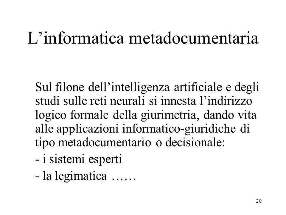 21 Linformatica giuridica Linformatica giuridica si è quindi consolidata in aree definite: linformatica documentaria linformatica metadocumentaria ….