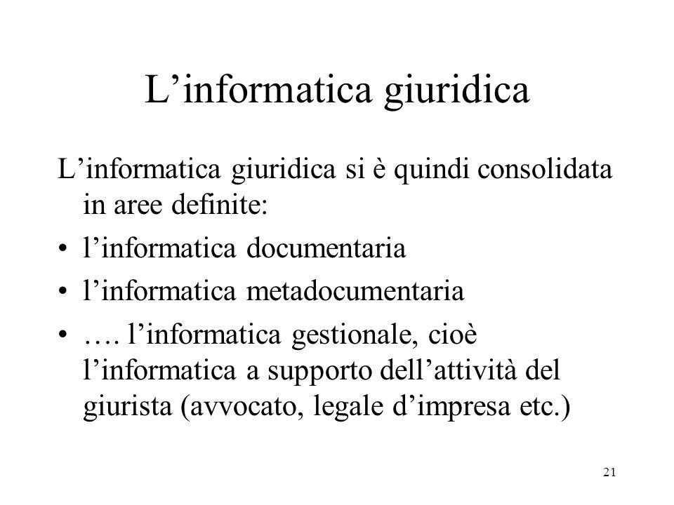 22 Il diritto dellinformatica Linformatica si fa oggetto del diritto Il complesso delle norme, delle decisioni giurisprudenziali e della letteratura giuridica in materia di informatica