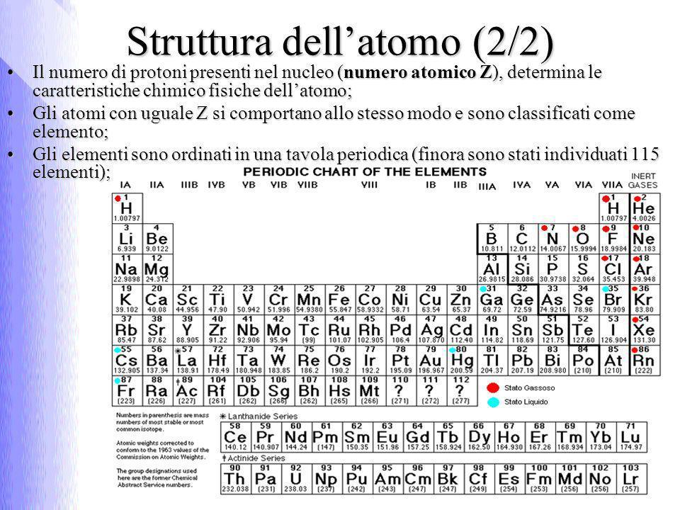Struttura del nucleo (1/5) I costituenti del nucleo sono i nucleoni che si presentano in 2 forme distinte: Protoni (1906 - Thomson):Protoni (1906 - Thomson): particelle stabili di carica elettrica positiva unitariaparticelle stabili di carica elettrica positiva unitaria m p = 1,6727·10 -27 kgm p = 1,6727·10 -27 kg Neutroni (1932 - Chadwick ):Neutroni (1932 - Chadwick ): particelle instabili prive di carica elettricaparticelle instabili prive di carica elettrica m n = 1,6749·10 -27 kgm n = 1,6749·10 -27 kg
