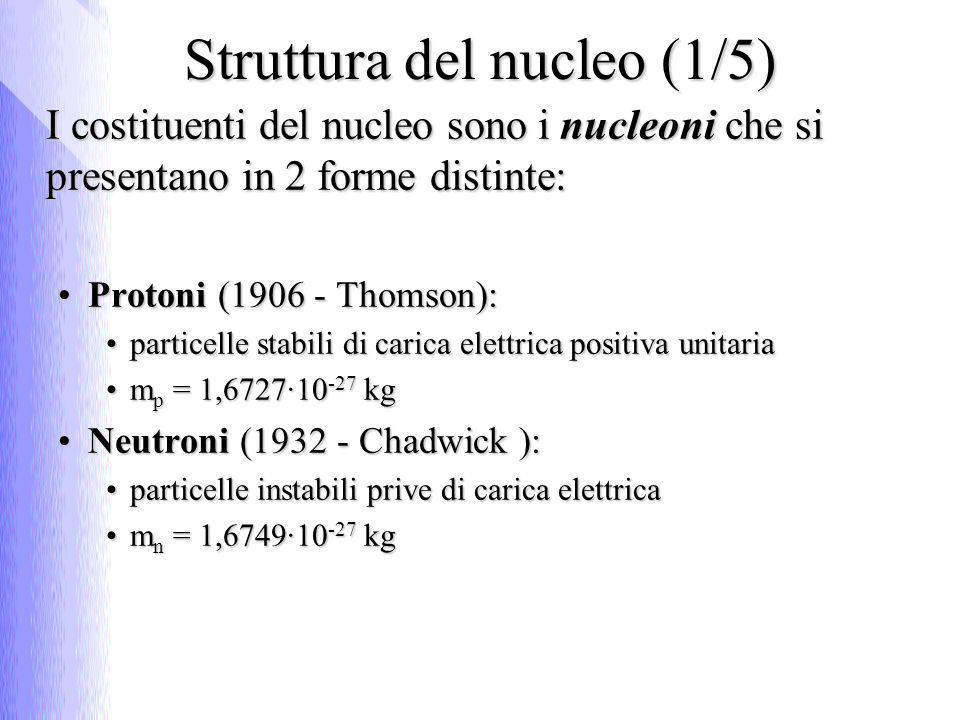 Unità di misura della massa U.m.a (Unità di Massa Atomica) è pari a 1/12 m C 12U.m.a (Unità di Massa Atomica) è pari a 1/12 m C 12 1 uma = 1,66056 · 10 -27 kg1 uma = 1,66056 · 10 -27 kg ElettronVolt (eV) è la quantità di energia acquisita da 1 e - che si muove sotto la differenza di potenziale di 1 Volt:ElettronVolt (eV) è la quantità di energia acquisita da 1 e - che si muove sotto la differenza di potenziale di 1 Volt: 1 eV = 1,602 · 10 -19 J1 eV = 1,602 · 10 -19 J Dalla equivalenza fra massa ed energia E = mc 2, si ottiene che m = E/c 2Dalla equivalenza fra massa ed energia E = mc 2, si ottiene che m = E/c 2 m p = 1,00727 uma = 1,6726·10 -27 kg = 938,27 MeV/c 2m p = 1,00727 uma = 1,6726·10 -27 kg = 938,27 MeV/c 2 m n = 1,00867 uma = 1,6749·10 -27 kg = 939,57 MeV/c 2m n = 1,00867 uma = 1,6749·10 -27 kg = 939,57 MeV/c 2 m e = 5,486·10 -4 uma = 9,11·10 -31 kg = 0,511 MeV/c 2m e = 5,486·10 -4 uma = 9,11·10 -31 kg = 0,511 MeV/c 2