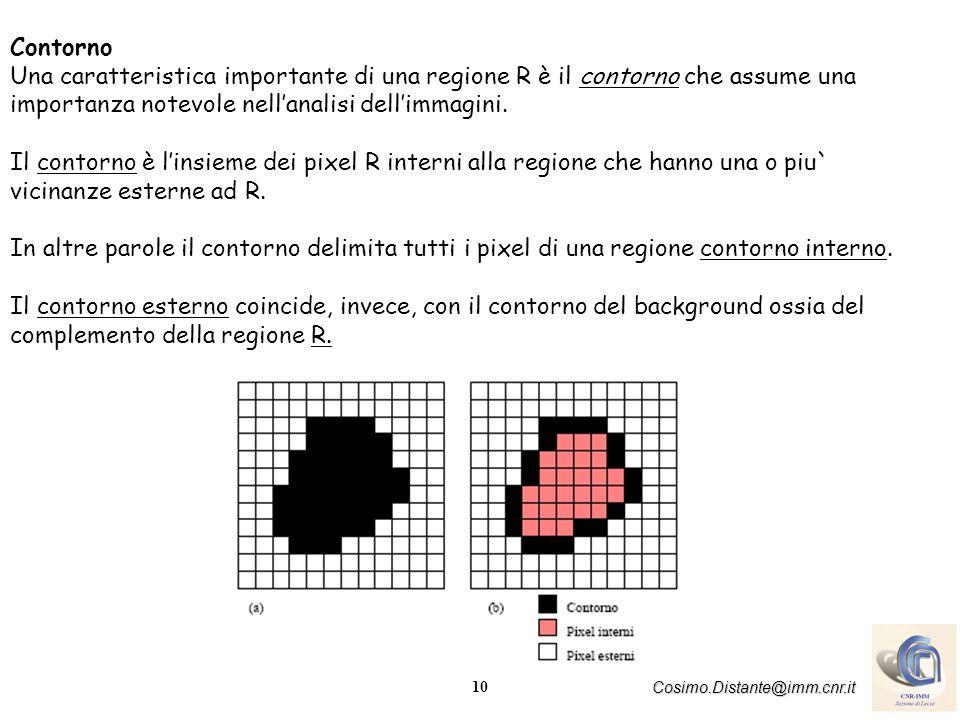 11 Cosimo.Distante@imm.cnr.it Bordi (Edges) modulodirezione Mentre il contorno è un concetto associato globalmente ad una regione, il bordo costituisce una proprietà locale di un pixel con i suoi vicini ed è caratterizzato come un vettore definito dal modulo e dalla direzione.