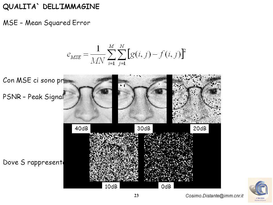 24 Cosimo.Distante@imm.cnr.it RUMORE DELLIMMAGINE Le immagini reali sono normalmente degradate da errori casuali introdotti dal processo di digitalizzazione dellimmagine, durante lelaborazione in trasmissione rumore Tale degradazione è usualmente chiamata rumore.
