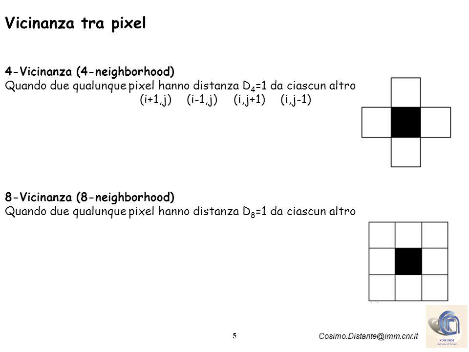 6 Cosimo.Distante@imm.cnr.it Percorso path Il percorso tra due pixel A e B è definito come sequenza di pixel S 1, S 2,------S n dove S 1 =A, S n =B il pixel S i+1 e` vicino al pixel S i per i=1,....,n-1 Percorso Semplice nessun pixel ripetuto (ad esclusione del primo e lultimo) in cui nessun pixel ha piu di due vicini Percorso Chiuso è un percorso semplice in cui il primo pixel è vicino allultimo Si possono definire allo stesso modo 4-percorso e 8-percorso che scaturiscono dal concetto di vicinanza a 4 o 8 Ambiguità della vicinanza (fig.