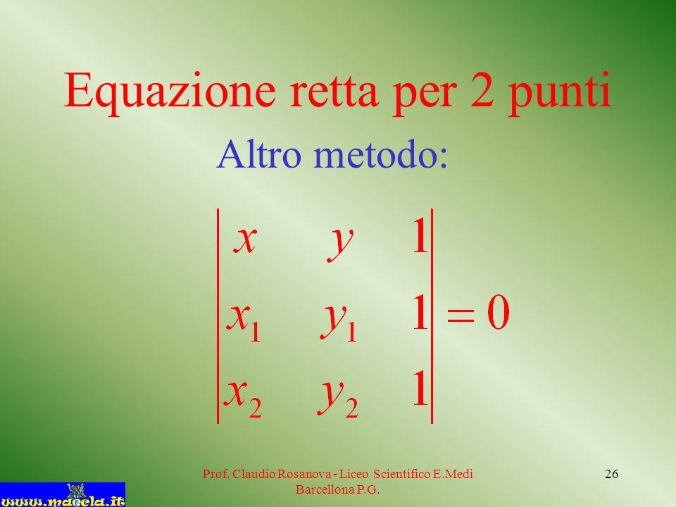 Prof. Claudio Rosanova - Liceo Scientifico E.Medi Barcellona P.G. 27 P 1 (2;5) P 2 (6;8)