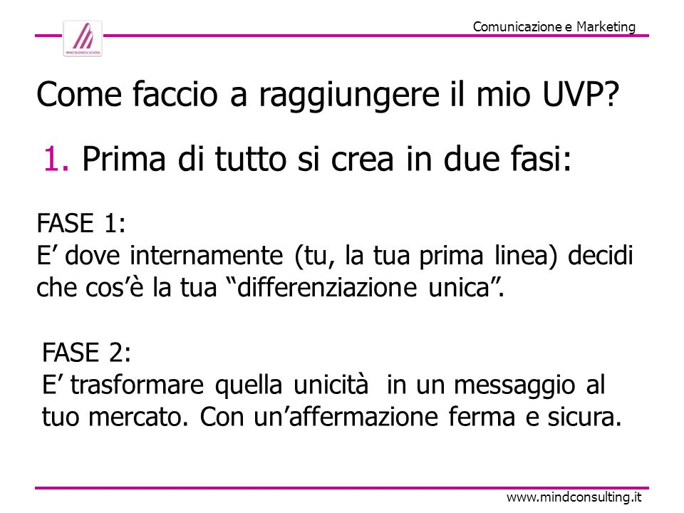 U.V.P. la base del Marketing www.mindconsulting.it P.S. UNICO MA UTILE !