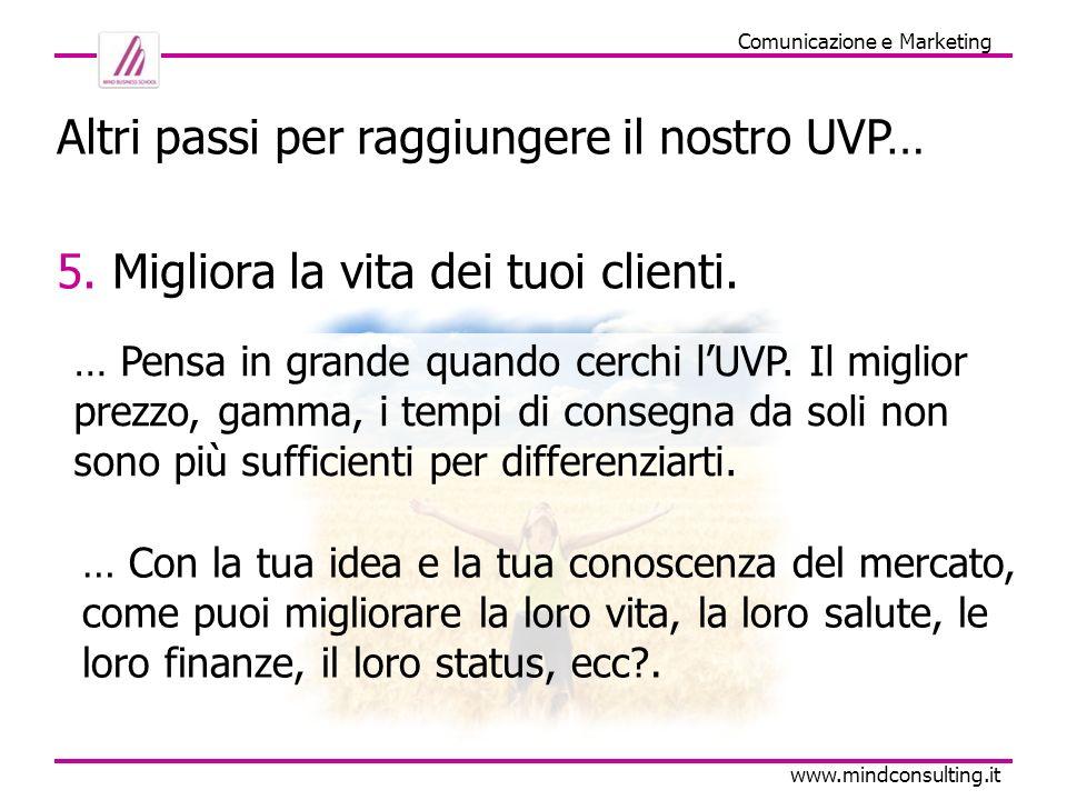 Comunicazione e Marketing www.mindconsulting.it Altri passi per raggiungere il nostro UVP… 6.