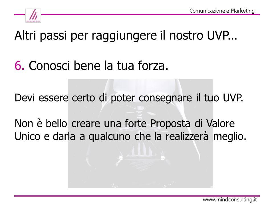 Comunicazione e Marketing www.mindconsulting.it Bello, ma quindi a che serve un UVP.