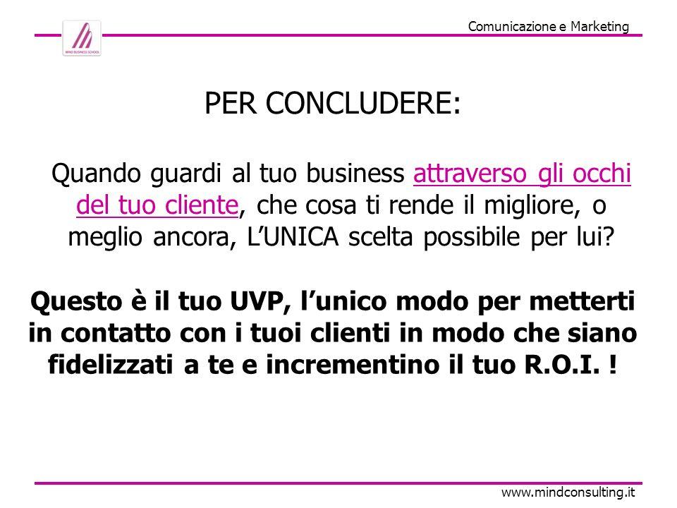 U.V.P.la base del Marketing www.mindconsulting.it Non cercare di essere unazienda di successo.