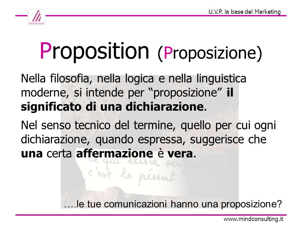 U.V.P.la bese del Marketing www.mindconsulting.it Quindi.