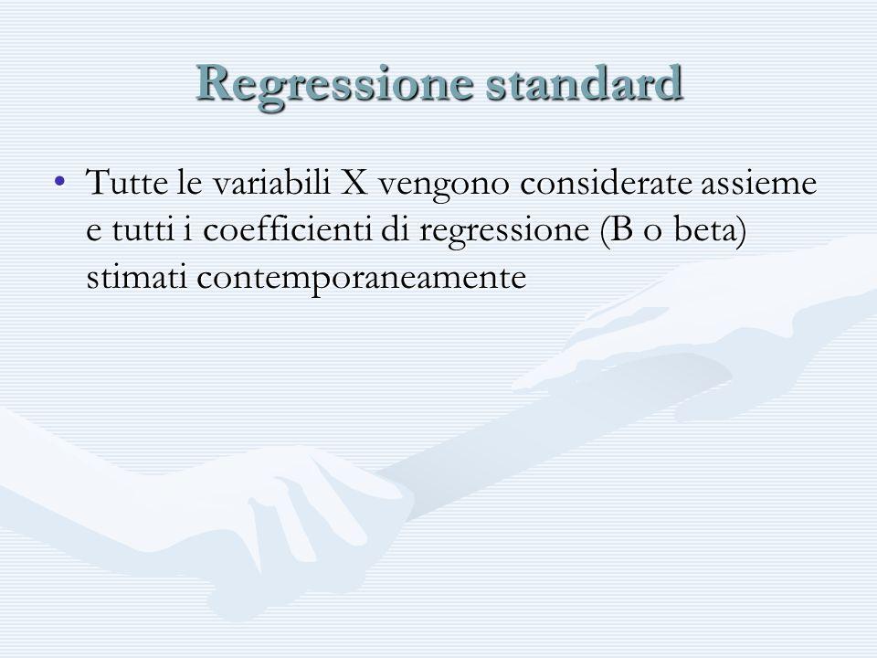 Forward Le variabili X vengono inserite una alla volta (in genere la X con la correlazione XY più alta) e vengono poi calcolate le correlazioni parziali e i test di significatività di tutte le altre.Le variabili X vengono inserite una alla volta (in genere la X con la correlazione XY più alta) e vengono poi calcolate le correlazioni parziali e i test di significatività di tutte le altre.