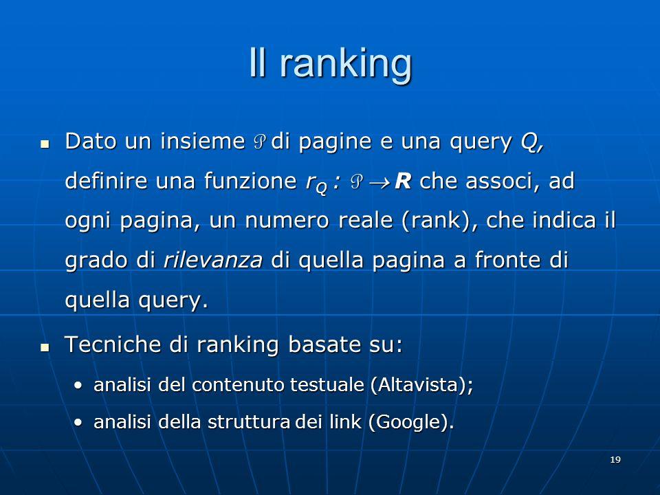 20 Latent Semantic Indexing È una tecnica di ranking basata sul contenuto testuale.
