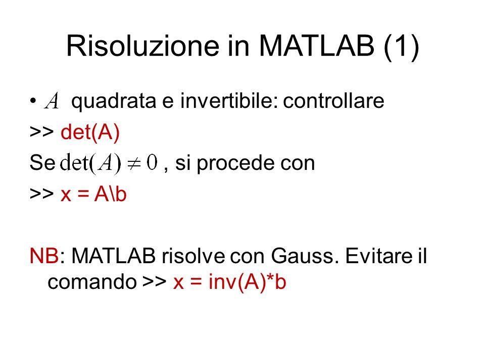 Esempio >> x = A\b x = 2 1/2 1/2