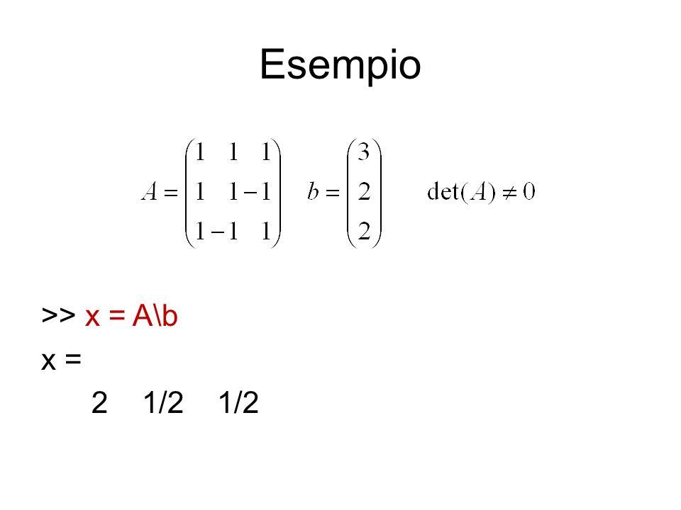 Risoluzione in MATLAB (2) quadrata (singolare) o rettangolare: controllare >> rank(A) >> rank([A b]) Se, si procede con >> R = rref([A b]) (reduced row echelon form), che riduce la matrice completa con pivotizzazione parziale.