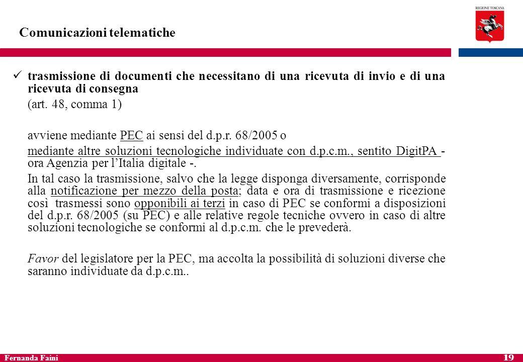 Fernanda Faini 20 Comunicazioni telematiche trasmissione informatica di documenti da parte di privati (cittadini e imprese) a PPAA art.